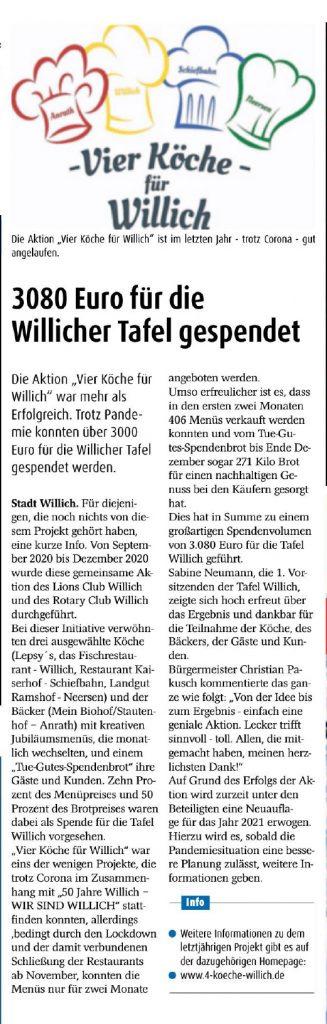 Extra Tipp Willich 31.01.2021